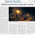 """RNZ vom 16.4.12: """"Stadtteil Frauenweiler macht den Vorreiter"""" - Nachtabschaltung"""