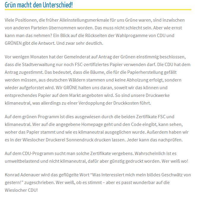 Grüne Unwahrheit auf der Homepage der Grünen (16. Mai 2014)