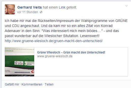 öffentliche hämische Kommentierung von G. Veits auf Facebook (16. Mai 2014)